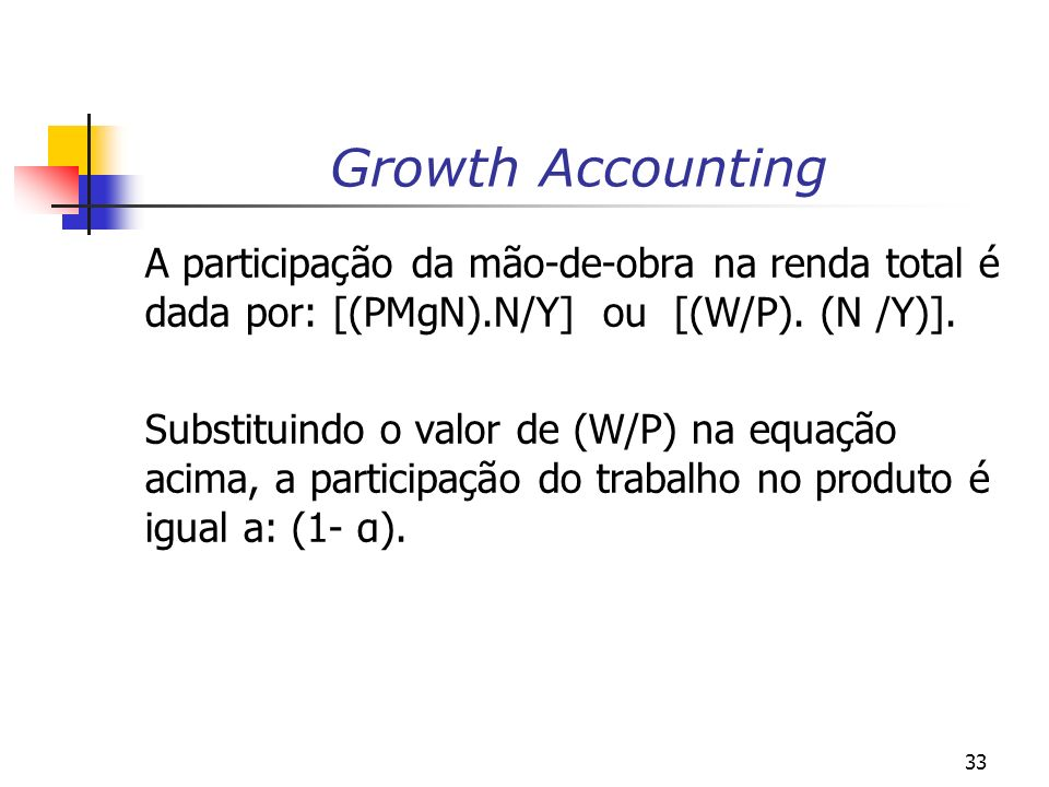 Growth Accounting A participação da mão-de-obra na renda total é dada por: [(PMgN).N/Y] ou [(W/P). (N /Y)].